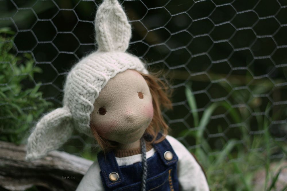 Hand knit critter hat for Mr Egg, an 18in natural cloth doll by Fig and me.