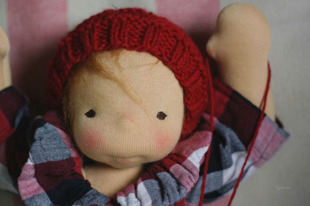 Emma Jean, a natural baby doll by Fig and me. Ready for Fall weather.