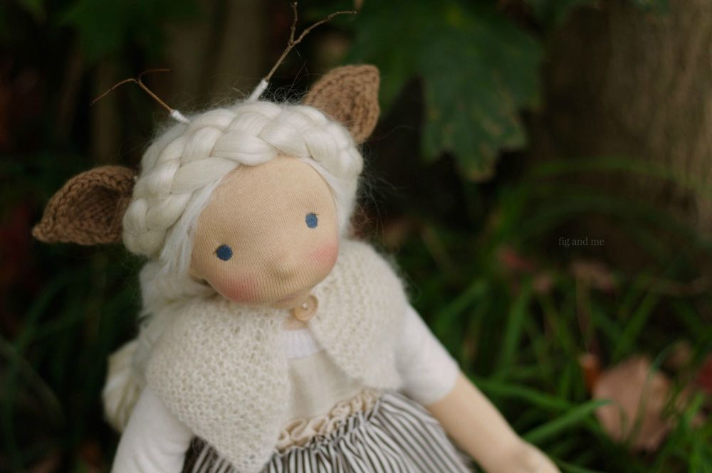 Feodora, an animal fairy clad in mohair and silk, by Fig and me. Feodora is a natural fiber art doll available for sale on my blog.