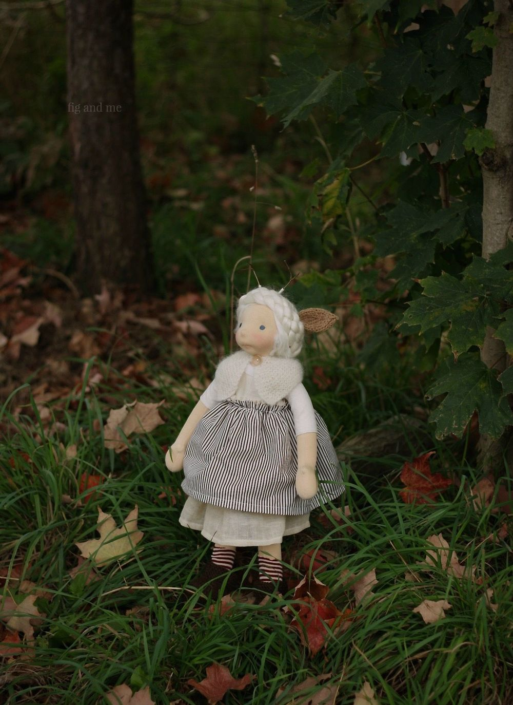 "Feodora, a 20"" natural fiber art doll by Fig and me."