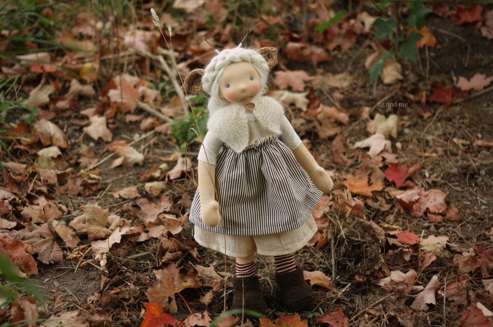 "Feodora, enjoying the early Fall. Feo is a 20"" natural fiber art doll by Fig and me."