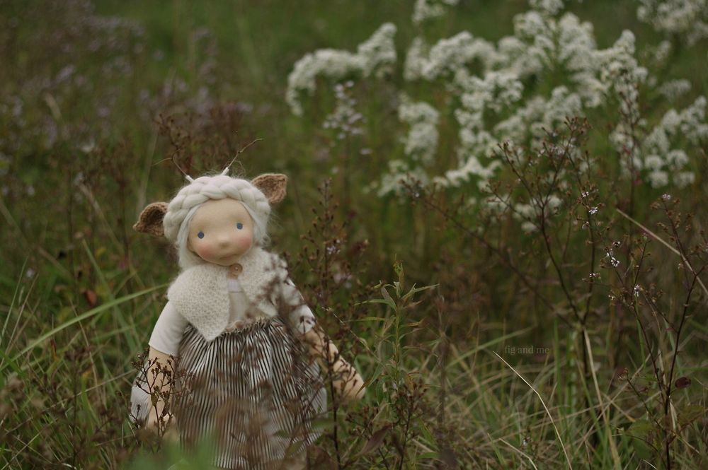 Feodora inspect a little meadow, by Fig and me.