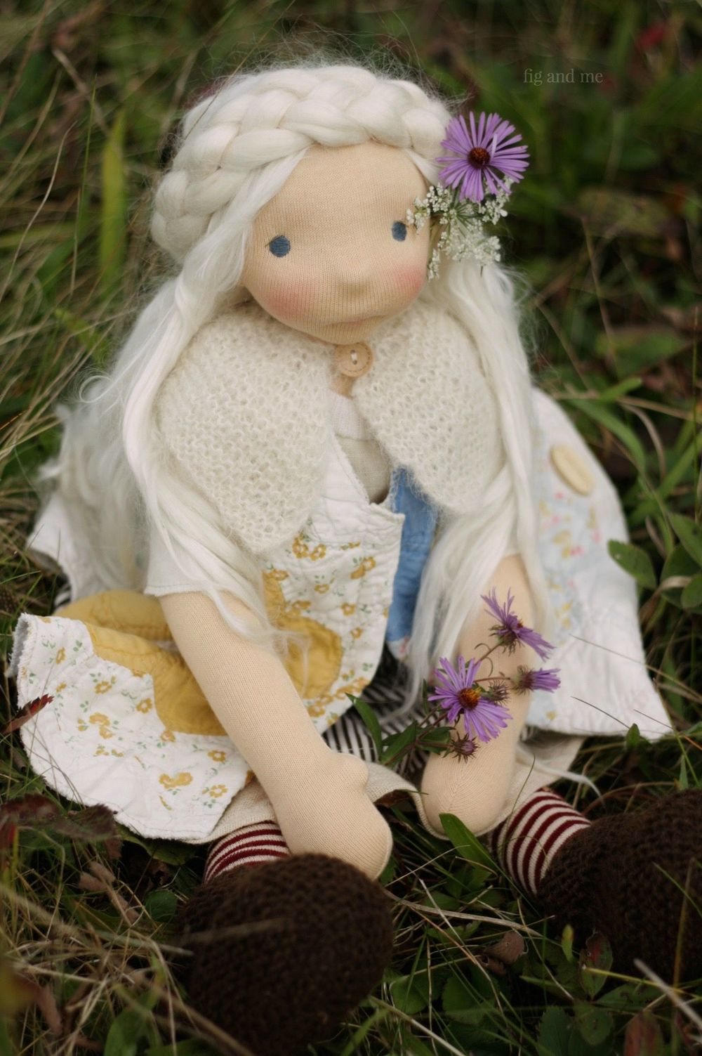 Feodora, a natural fiber art doll by Fig and me.