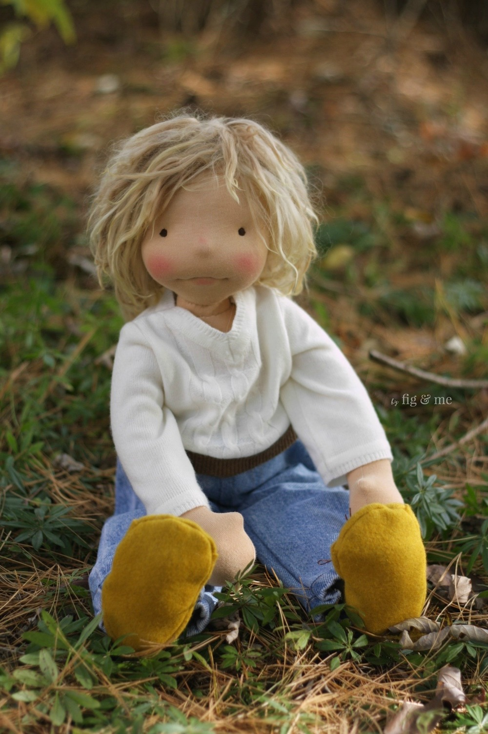 Little Kelly, a natural fiber art doll, made by Fig and me.