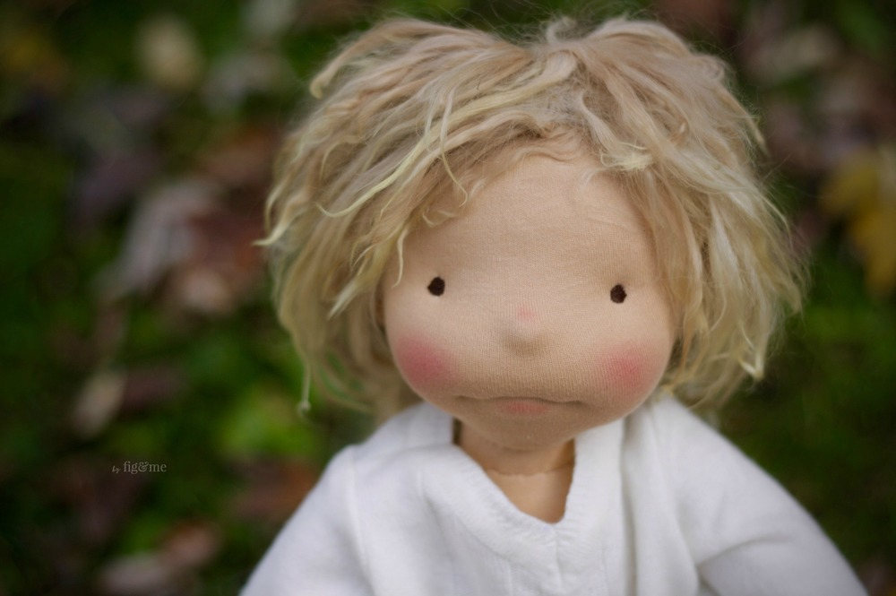 Little Kelly, a natural fiber art doll ready to play. Made by Fig and me.