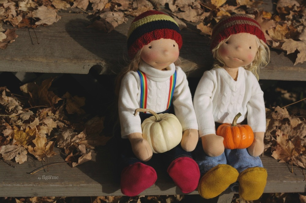 Enjoying the sunset this beautiful autumn day, natural fiber art dolls by Fig and me.