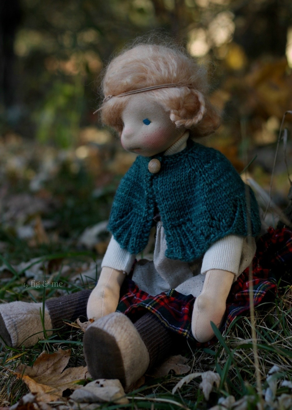 Iona, under a canopy of autumn skies. Natural fiber art doll by Fig and me.