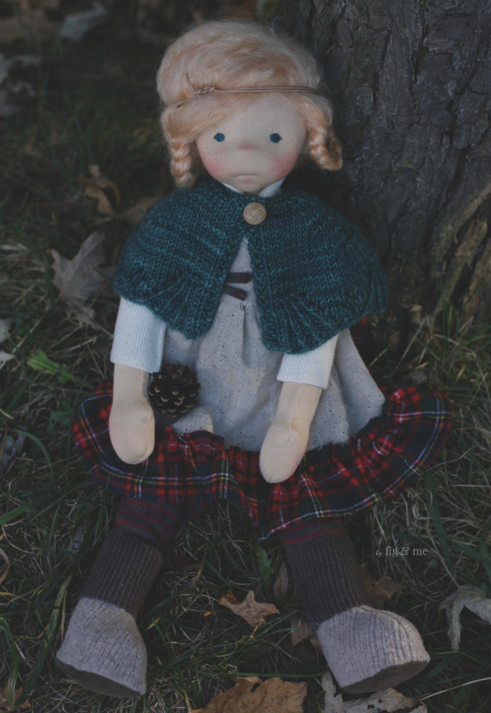 Iona, a natural fiber art doll ready for play. By Fig and me.