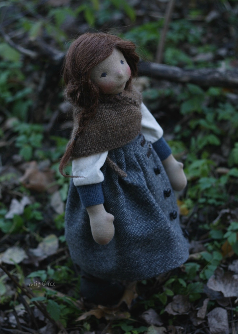Skye in the forest, a natural fiber art doll by Fig and me.