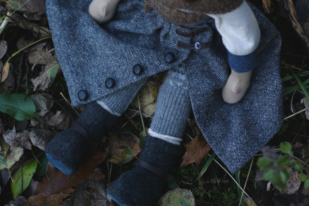 Skye wears fair isle long underwear, merino boots and a beautiful tweed skirt. By Fig and me.