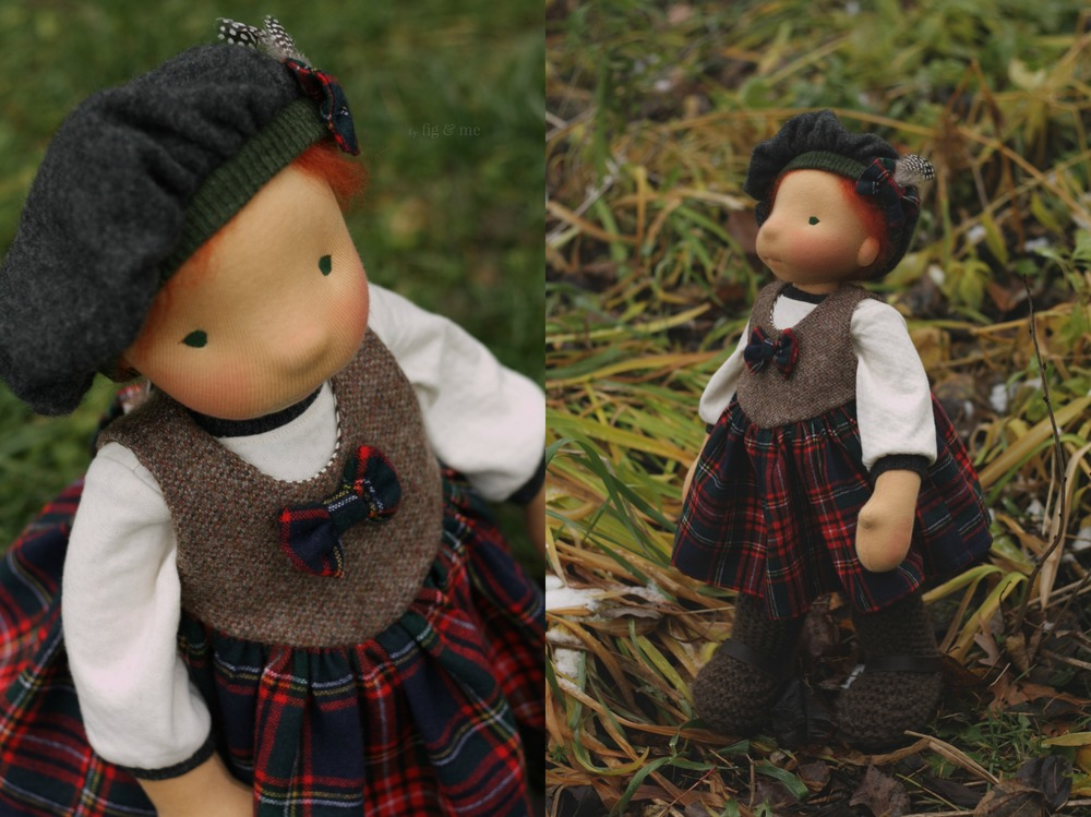 Kilda shows off her tartan and tweed dress, by Fig and Me.