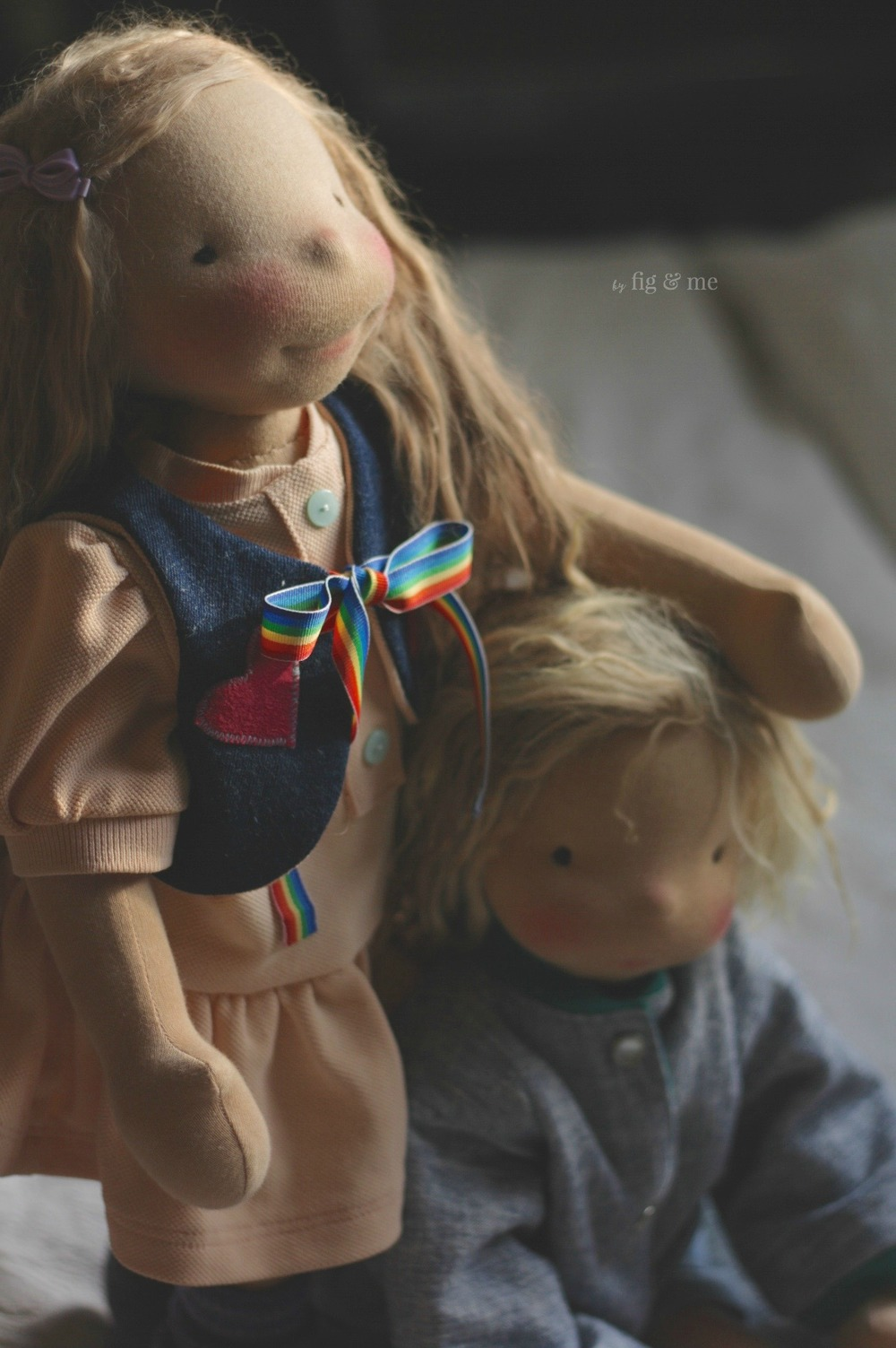 Tonja and Kelly, two natural dolls ready to fly home. They are wearing their second outfits, 80s style. By Fig and Me.