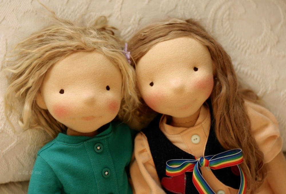 Kelly and Tonja, two natural fiber art dolls ready to meet Mom. By Fig and Me.