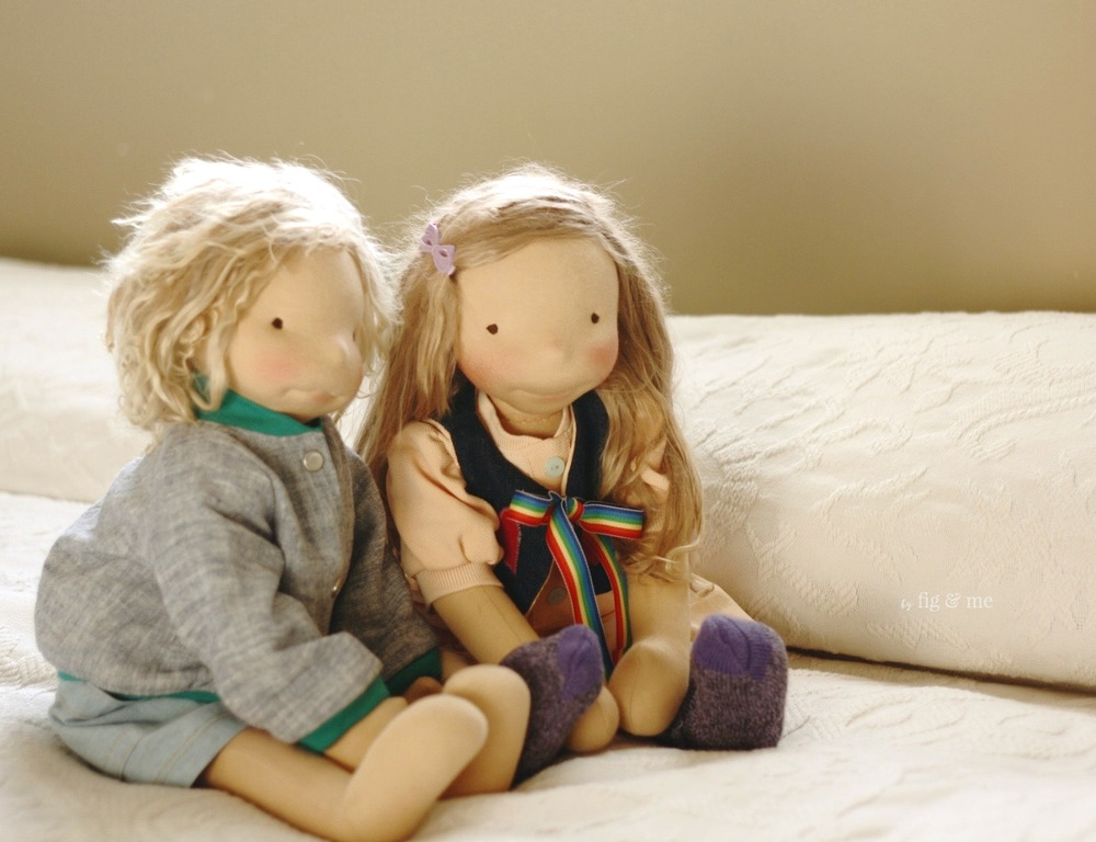 Kelly and Tonja, two natural fiber art dolls ready to go home. By Fig and Me.