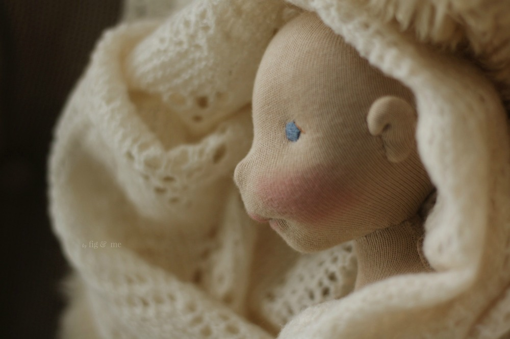 A natural fiber art doll in the making, pure souls  made of cloth and wool. By Fig and Me.