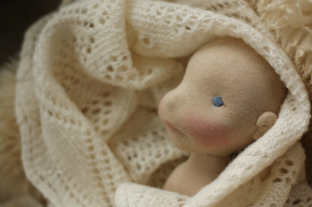 A natural fiber art doll in the making, made of magic and snow. By Fig and Me.