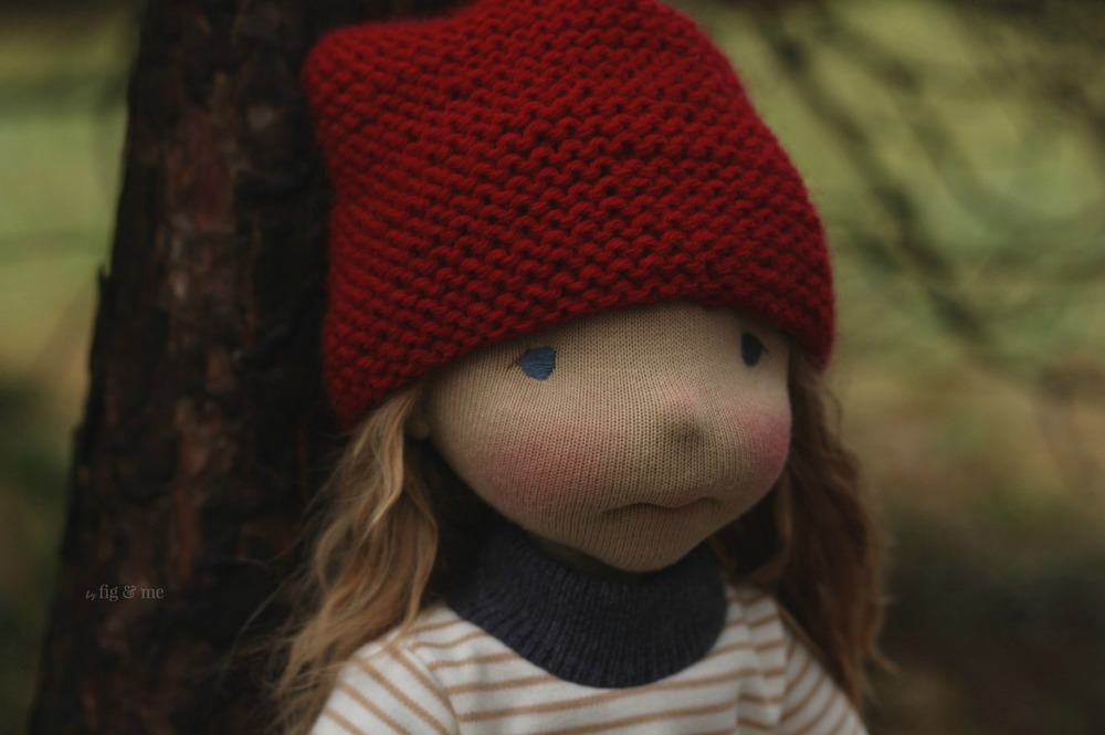 Sakasu, a natural fiber art doll, Petite Fig style by Fig and Me.