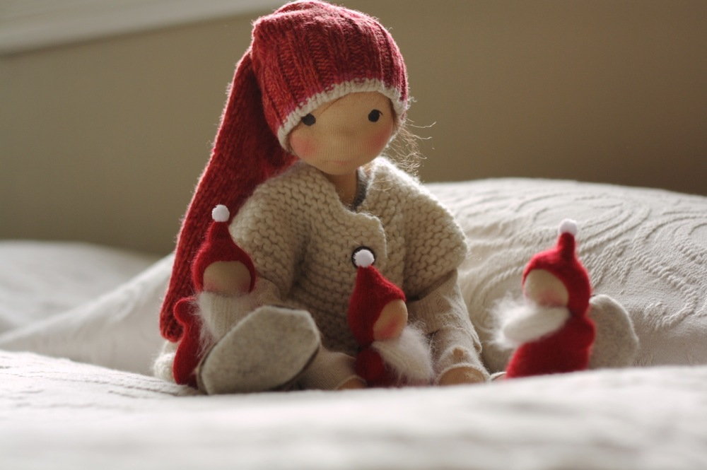 Poet and our Little Santas, natural dolls by Fig and Me.