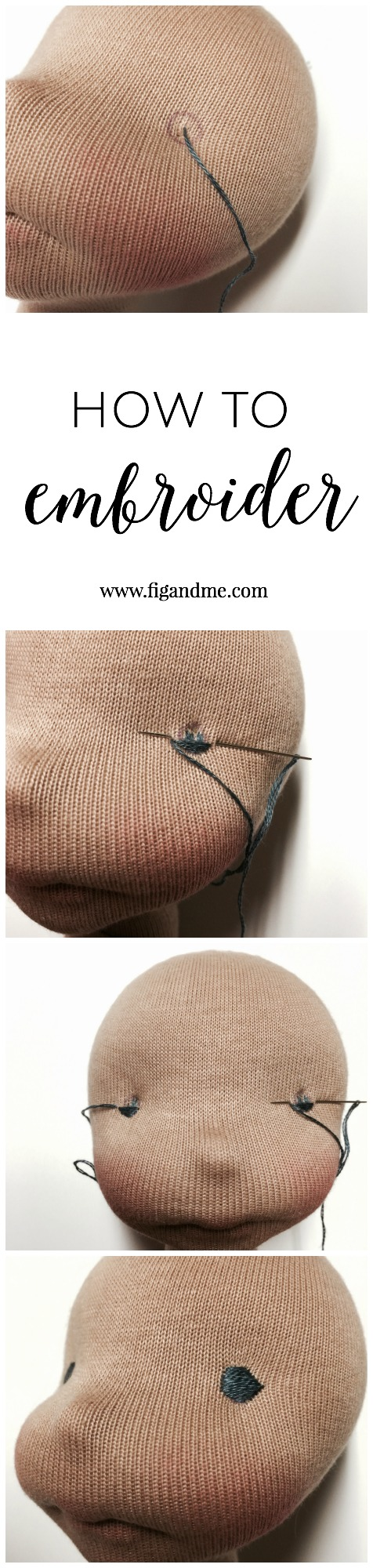 How to embroider the eyes on a wool sculpted doll, a mini tutorial by Fig and Me.