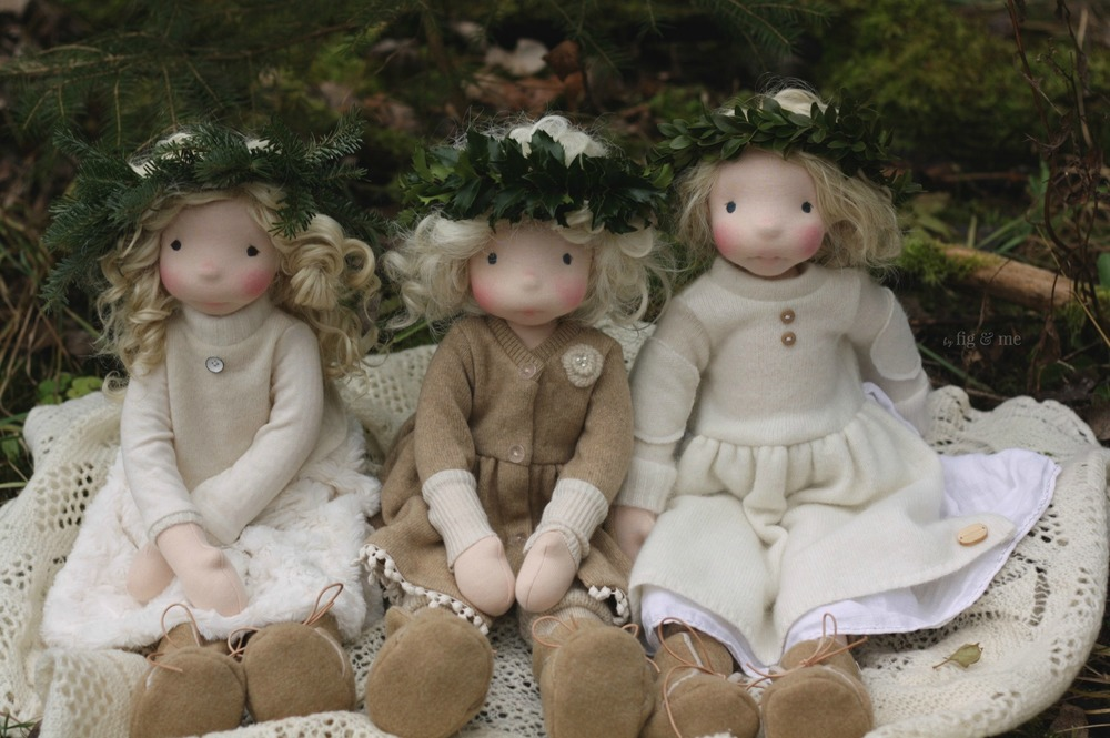 Three Winter Girls, natural fiber art dolls by Fig and Me.