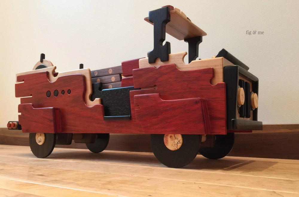 Wooden fire truck, by Fig and Me.