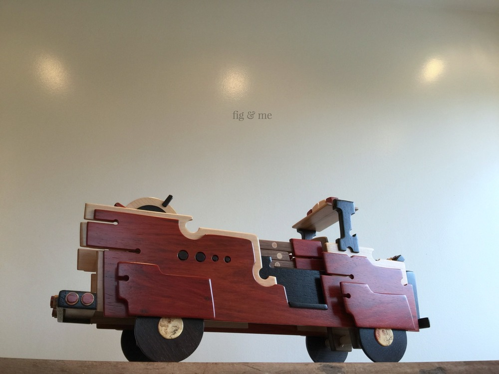 Wood fire truck by Fig and Me.