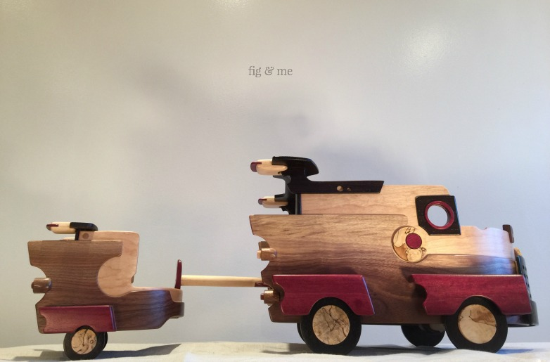 Wood car and trailer, by Fig and Me.