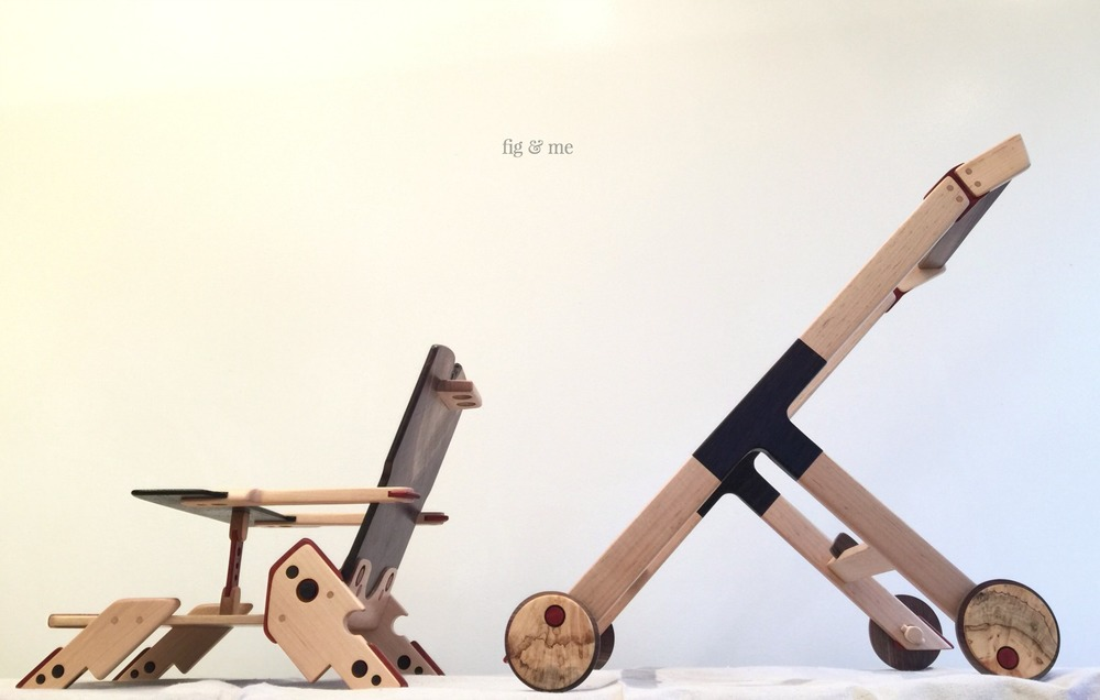 Wood doll stroller with removable chair, by Fig and Me.