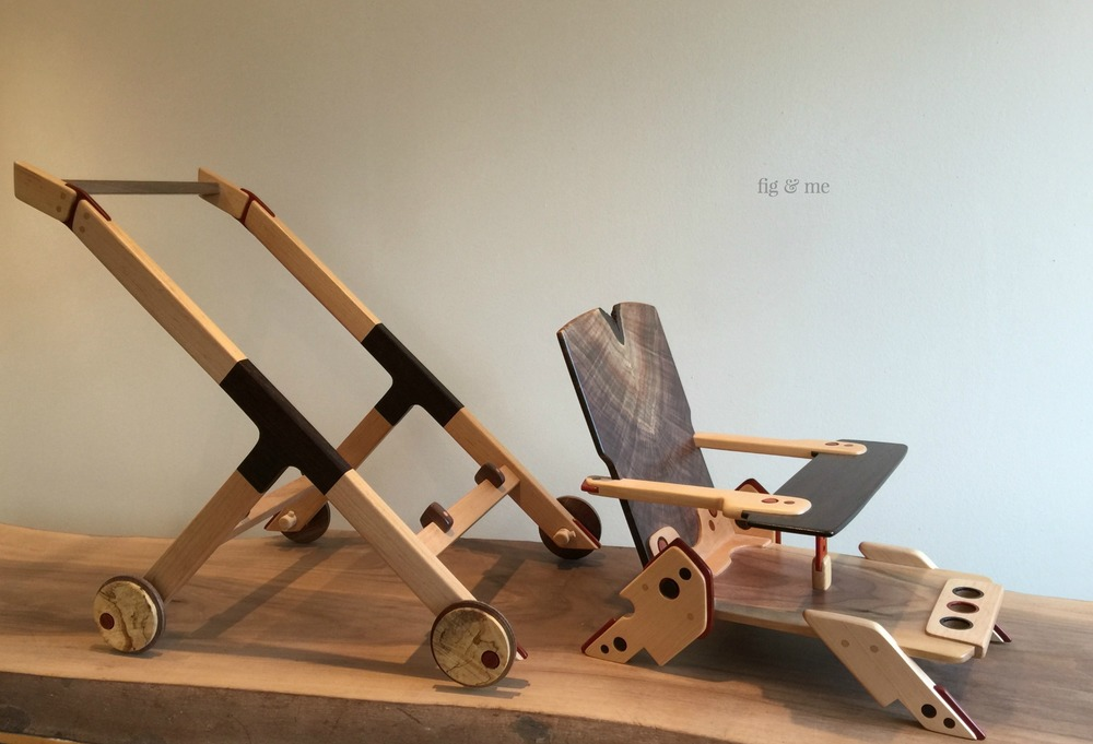 Wood doll stroller by Fig and Me.