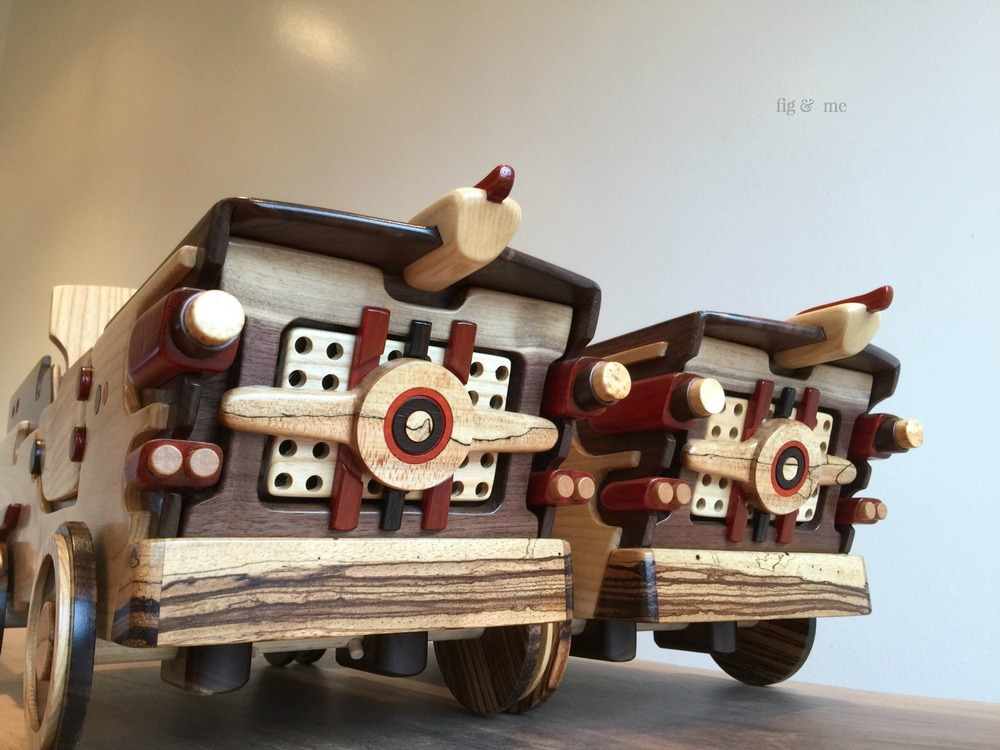 Gravity racers: two wooden doll cars by Fig and Me.