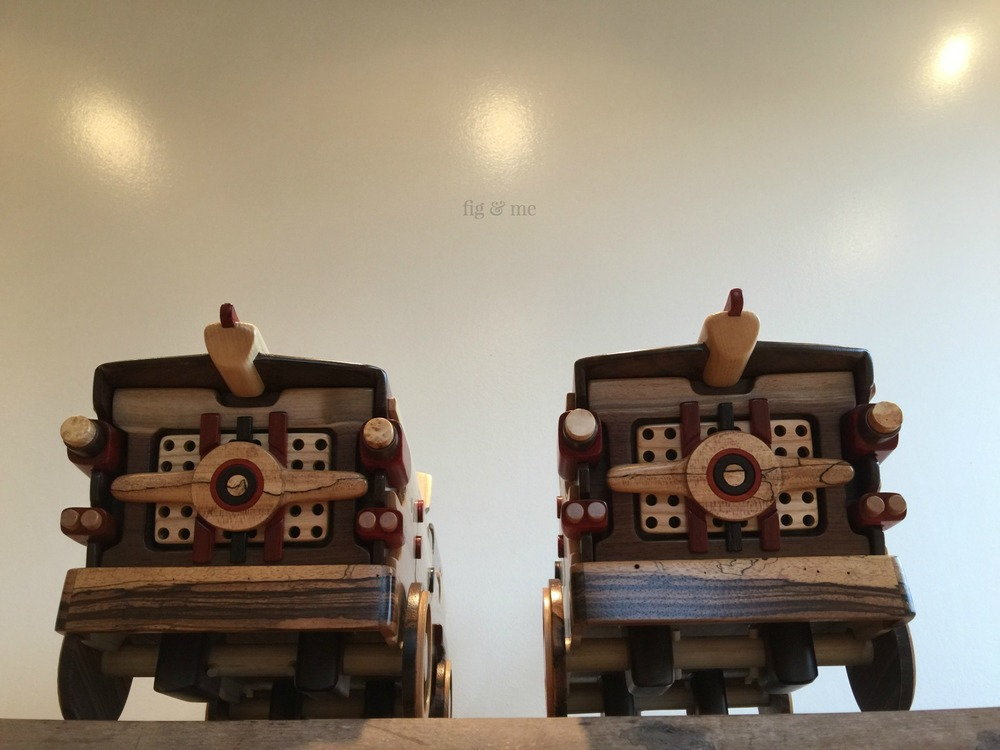 Gravity racers: two wooden doll speed cars by Fig and Me.