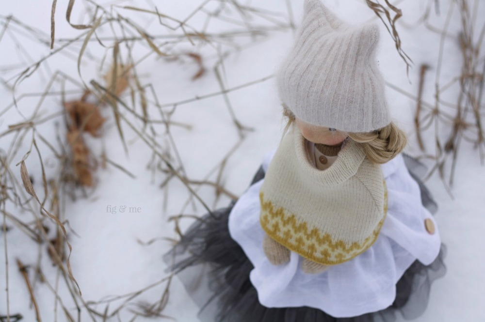 Nova, in the snow. A natural fiber art doll by Fig and Me.