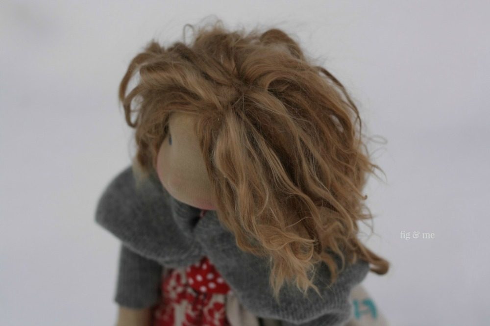The finished look: using Suri Alpaca locks for doll hair. By Fig and Me.