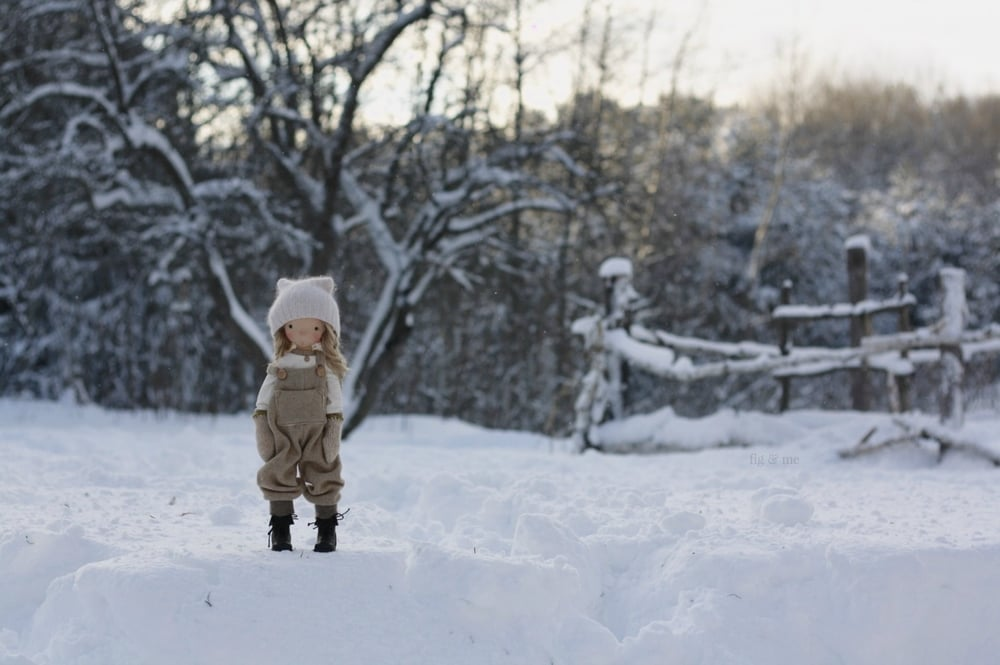 Nova in the snow, a natural fiber art doll by Fig and Me (she fits MSD clothing!).