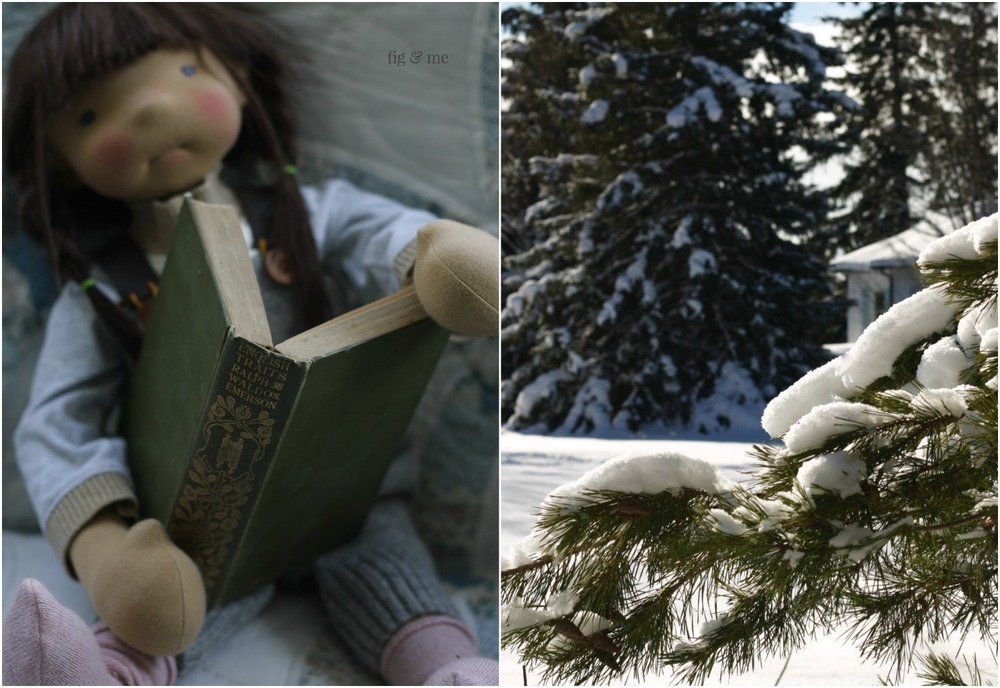 Ermentrude, a natural doll, reads Ralph Waldo Emerson while the snow beckons outside. By Fig and Me.