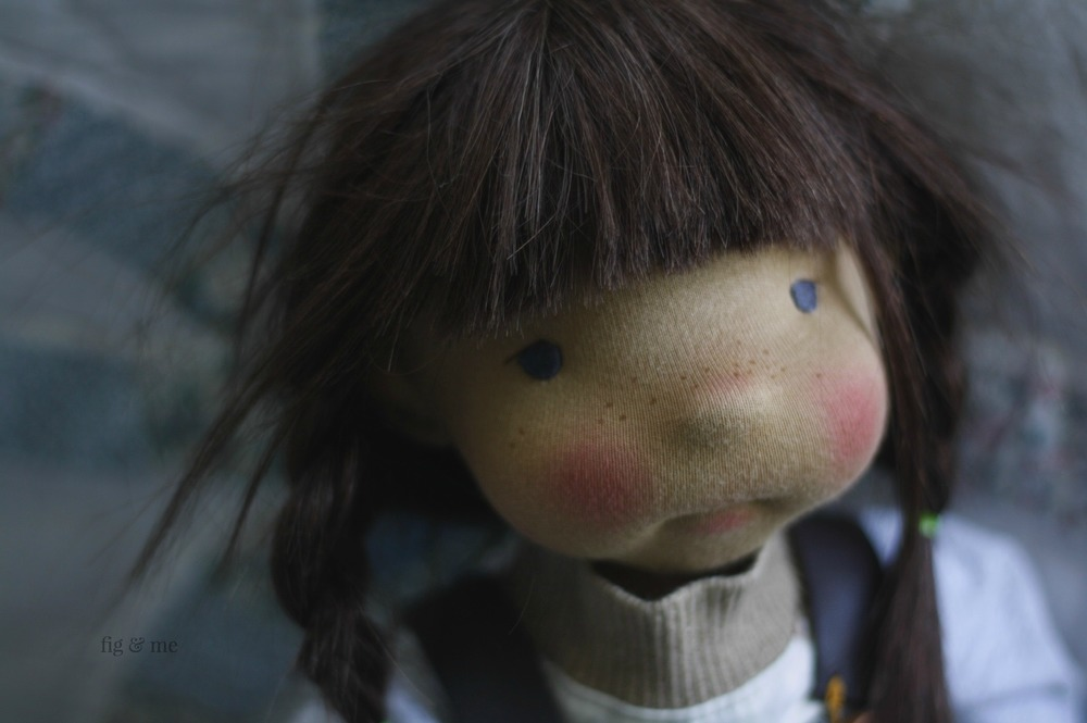 Ermentrude, a natural fiber art doll ready to play. By Fig and Me.