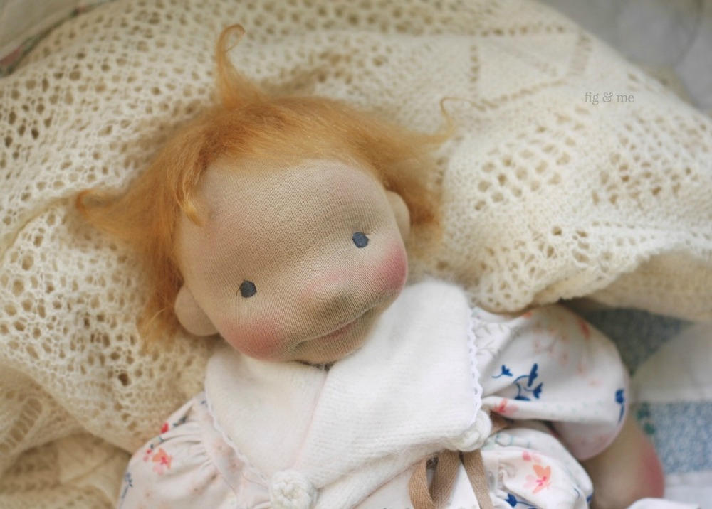 Solveig is a natural cloth doll, weighted for a realistic feel, ready for snuggles and play. Made by Fig and Me.