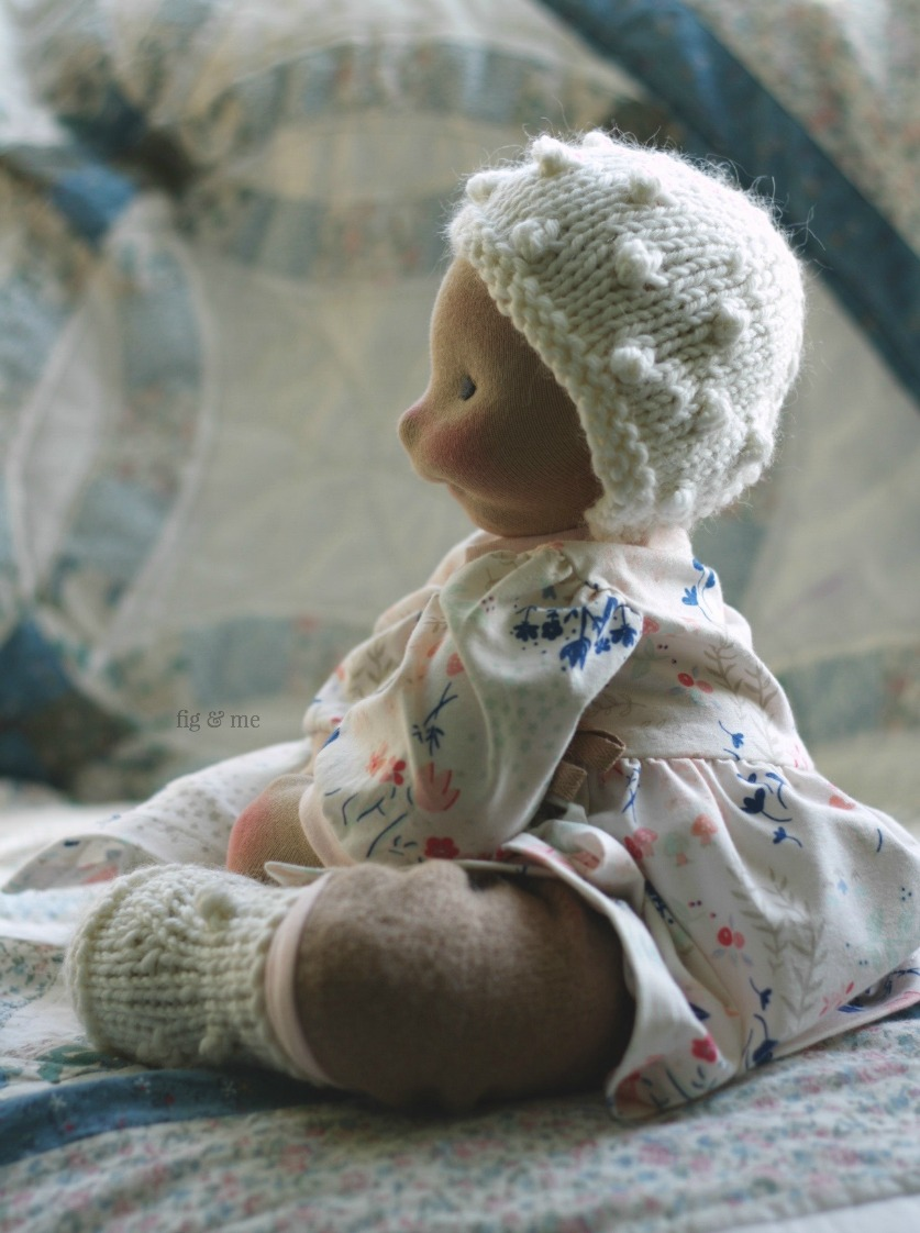 "Solveig just mastered sitting up right, she is so happy! - Solveig is a 15"" baby-style cloth doll made by Fig and Me."