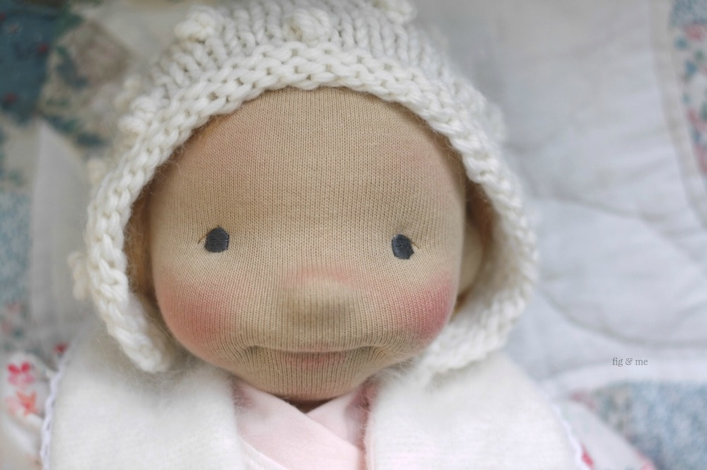 Solveig the little rascal. She is a happy baby doll ready to find a loving family. Made by Fig and Me.