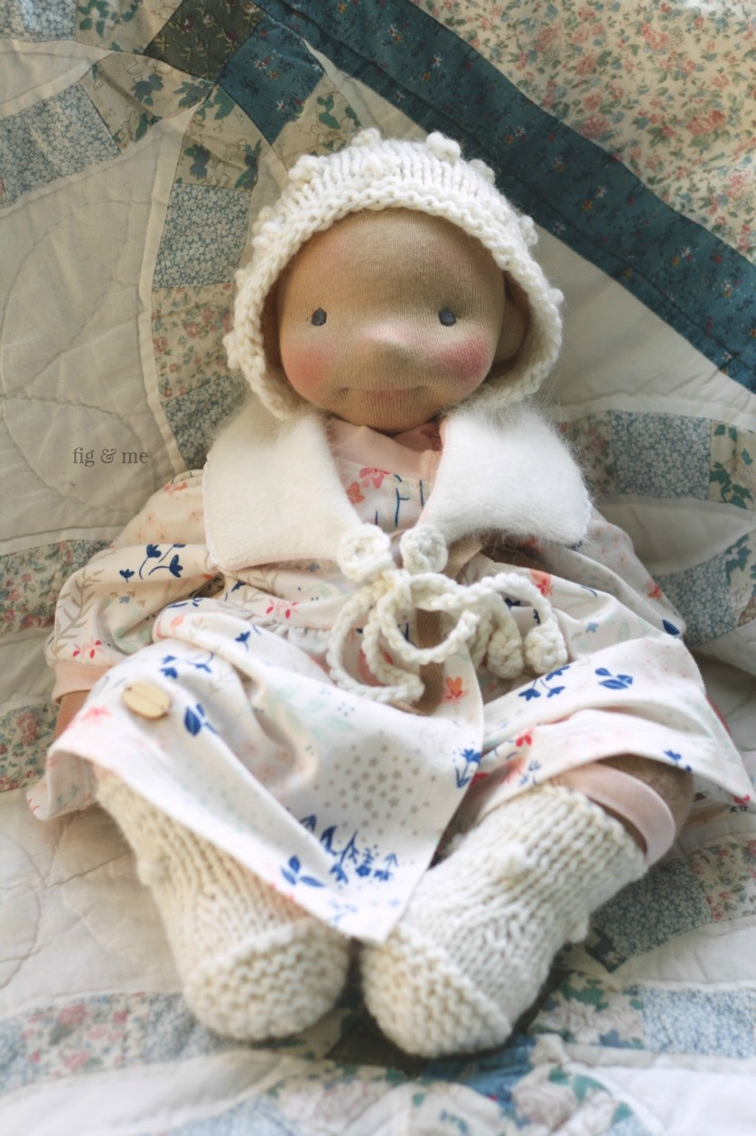 Solveig in her full attire, a weighted natural fiber art doll by Fig and Me.