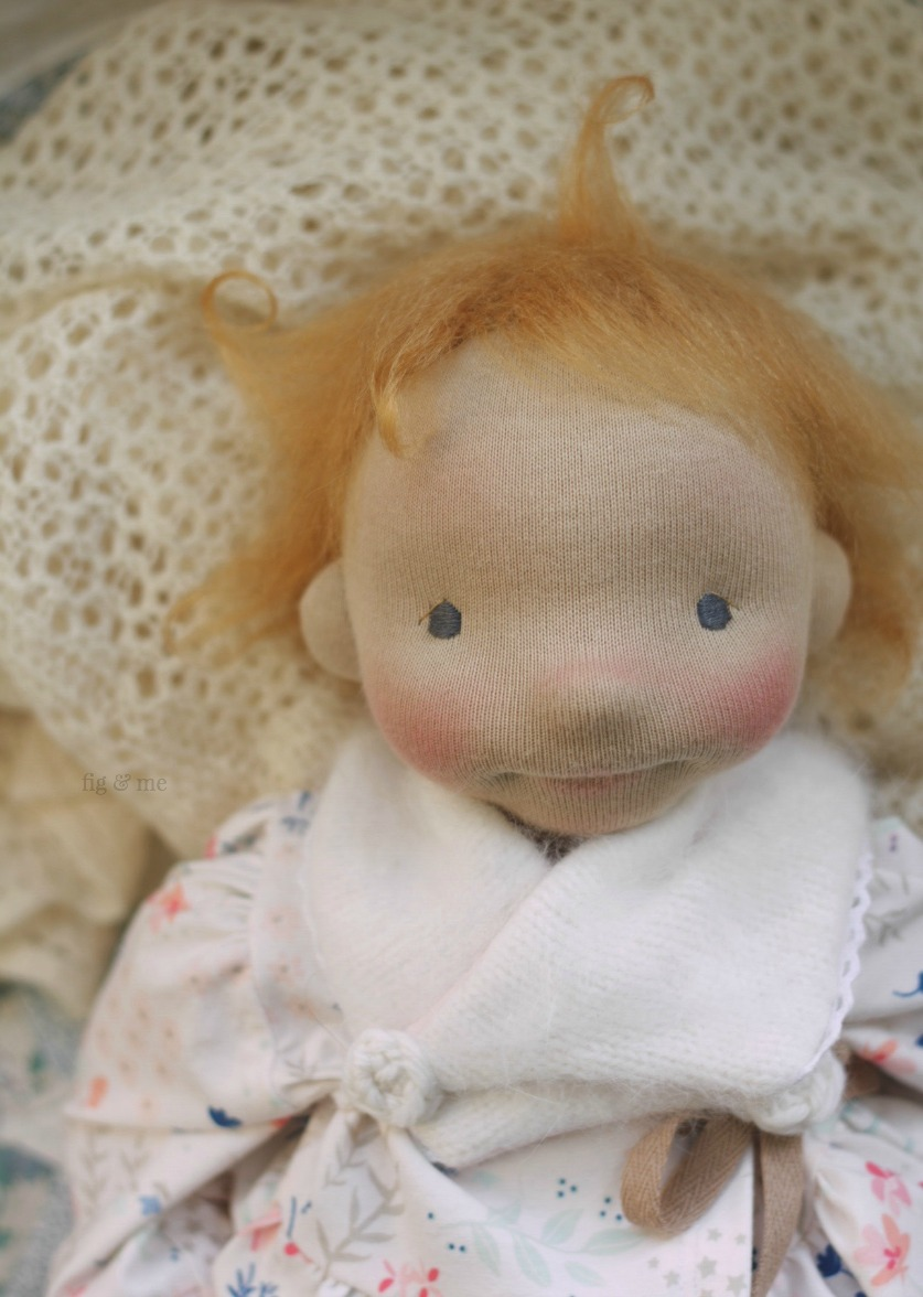 Little Solveig, a natural fiber art doll ready to play. By Fig and Me.