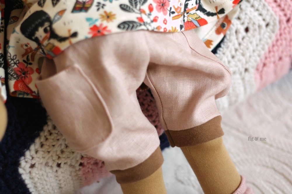 "Linen pantaloons with round patch-pockets. Part of the ""Ermentrude"" sewing pattern for doll clothes. By Fig and Me."