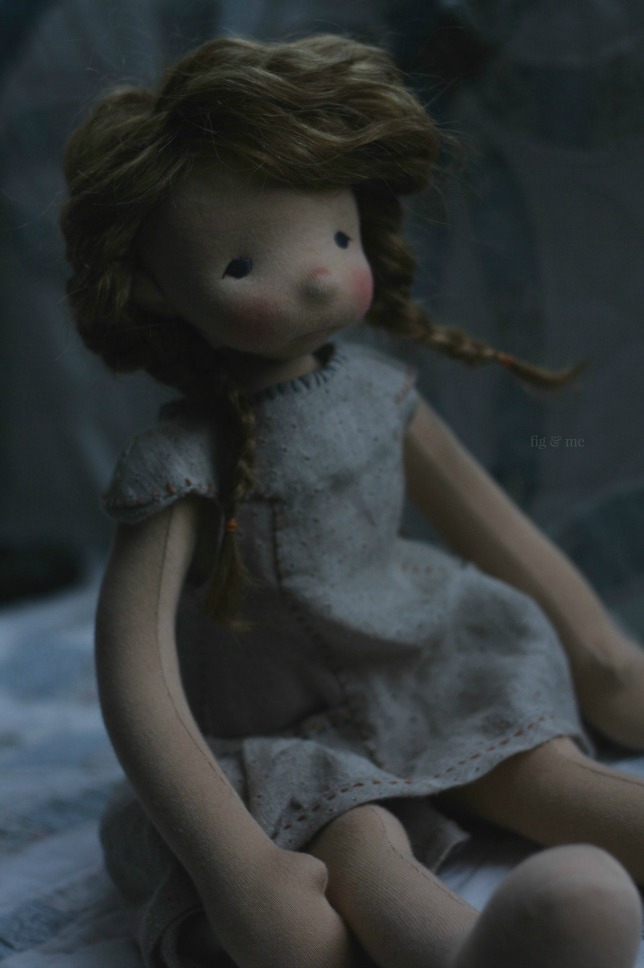 "Aoife, a 20"" tall natural fiber art doll by Fig and Me."