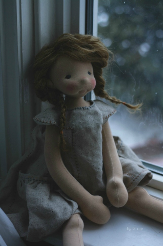 Aoife is a natural fiber art doll made by Fig and Me.