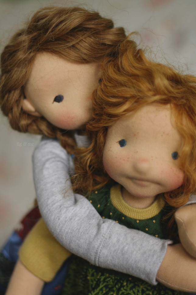 Aoife and Cliodhna, two natural fiber art dolls, by Fig and me.