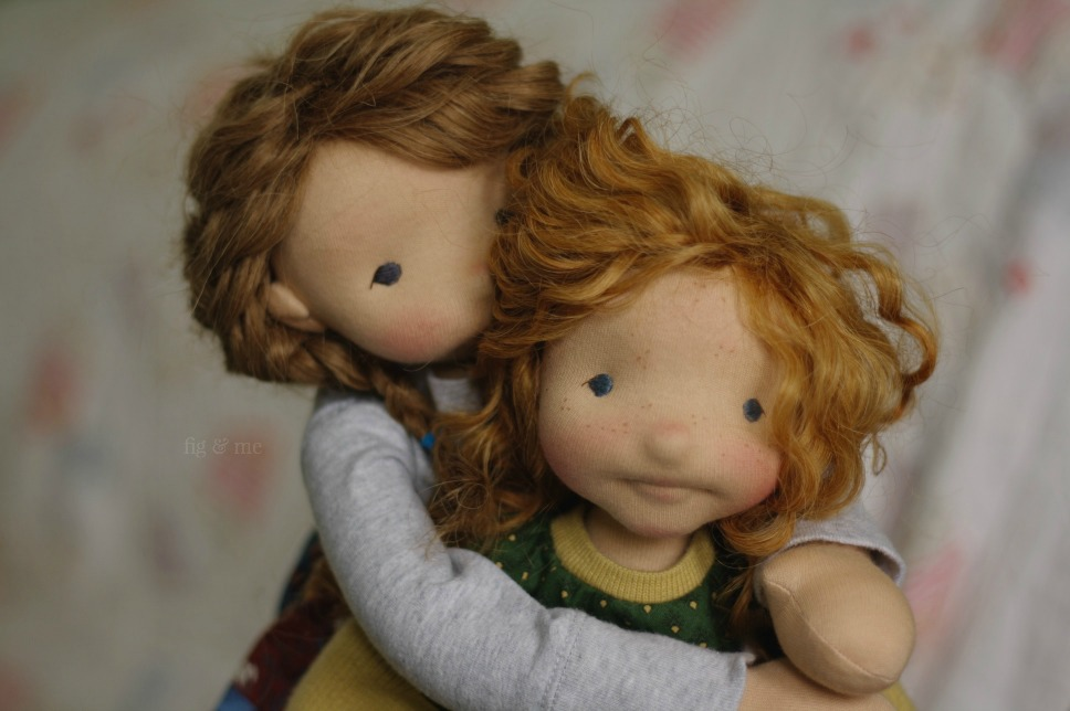 Aoife and Cliodhna, two natural fiber art dolls by Fig and Me.
