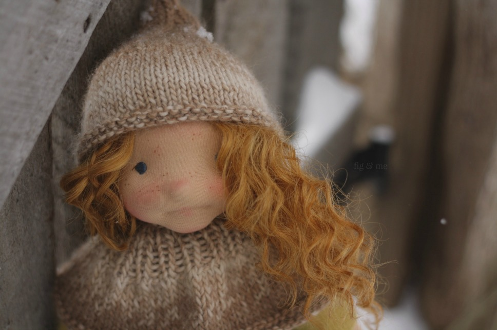 Cliodhna in the snow, a natural fiber art doll by Fig and Me.