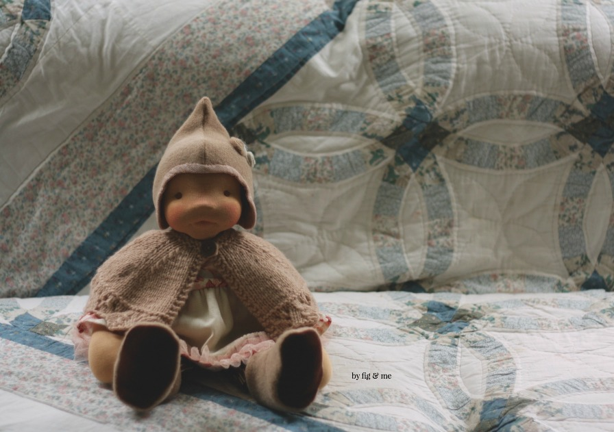 Isabella, a natural fiber art doll, custom made by Fig and Me.