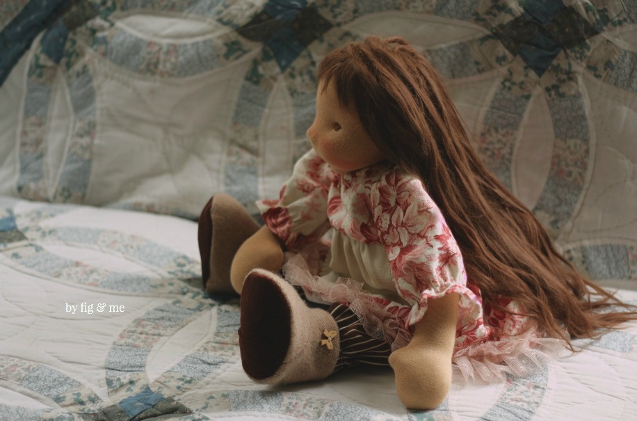 Isabella, a custom made natural fiber art doll by Fig and Me.