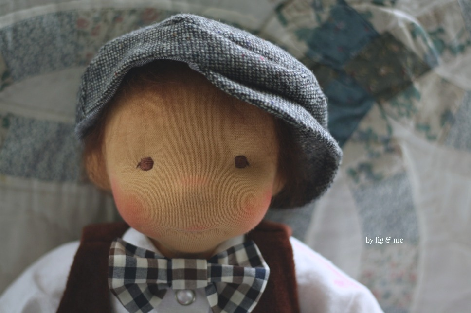 Xavier, a natural cloth doll by Fig and Me.